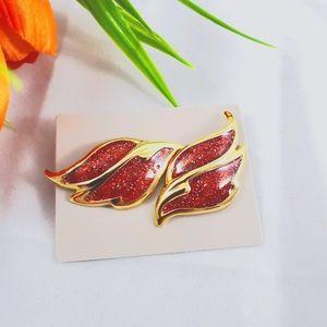 Avon glitter flame pierced earrings circa 1988